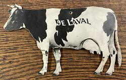 Vintage De Laval Cream Separator, Tin Holstein Cow, Double-sided Advertising