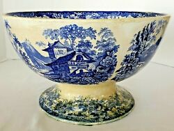 Rare 19th Century Blue And White Genevese Pedestal Bowl Large Minton Opaque China