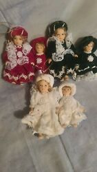 Porcelain Collectible Doll Christmas Ornaments Set Of 6 Victorian Vintage