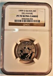 1999 S State Quarters Lot Of 5 Graded By Ngc In Pf70 Ultra Cameo Delaware