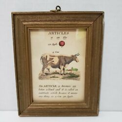 Vintage ARTICLES Parts of Speech Paths of Learning Grammar Framed Art Print
