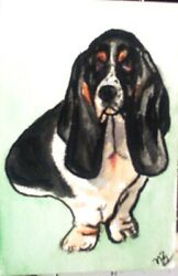 Basset Hound Dog ACEO PRINT of Original Water Color painting