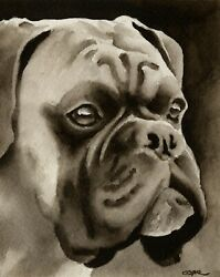 Boxer Art Print Sepia Watercolor 11 x 14 by Artist DJR