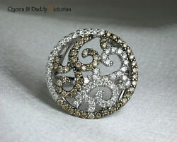 Victorian 18k750 White Gold And Black Gold Diamond Classical Design Ring