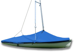 470 Sailboat - Boat Mast Up Peaked Cover - Polyester Royal Blue Mooring Cover