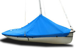 420 Sailboat - Boat Mast Up Peaked Cover - Polyester Royal Blue Mooring Cover