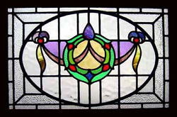 Art Nouveau Floral Swag Antique English Stained Glass Window