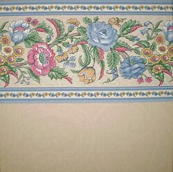 Bright Multi Color Flowers with Blue Accent on Brown Border by Rosedale MLB92015