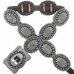 Vintage Old Pawn Style Native American Navajo Xl Turquoise Silver Concho Belt