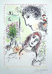 MARC CHAGALL Hand Signed 1983 Original Color Lithograph -