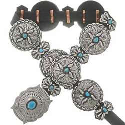 Native Navajo Lrg Turquoise Concho Belt Antiqued Stamped Silver Santa Fe Style