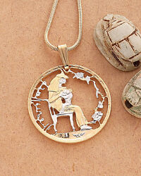 Egypt Year Of The Child Cut Coin Pendant And Necklace 1 Diameter 92