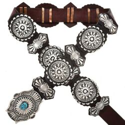 Navajo Lrg Classic Old Style Turquoise Antiqued Sterling Silver Concho Belt