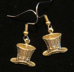 Uncle Sam Hat Earrings 24 Karat Gold Plate 4th Of July Independence