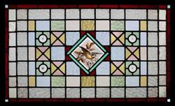 Painted Bird In Flight Antique English Rare Stained Glass Window