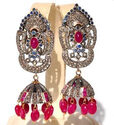 Most Exclusive 14kt Diamond Ruby Sapphire Earrings