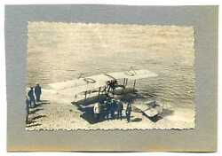 Russian Wwi Military Pilots And Hydro Airplane Real Photo
