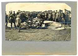 Russian Wwi Military Pilots And Crashed Airplane Real Photo