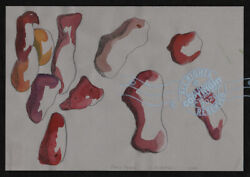 C Peterson ORIGINAL fine ART watercolor PAINTING abstract BODY PARTS pop SIGNED