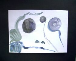 C Peterson ORIGINAL fine ART watercolor PAINTING abstract FROG face SIGNED