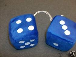 Fuzzy Dice To Hang From Rear View Mirror Blue 3 Inch Hot Rod Custom