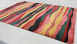 R372 Multicolored Bold Stripe Tibetan Woolen Rug 9and039 X 12and039 Hand Knotted In Nepal