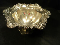 International Sterling Silver Compote Repousse Floral Border 530 Grams