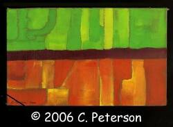 C Peterson ORIGINAL fine ART oil PAINTING = Abstract Architecture  impressionist