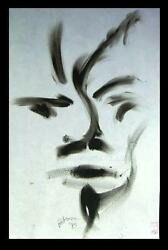 C Peterson ORIGINAL oil PAINTING on paper IMPRESSIONIST = Face abstract FINE ART