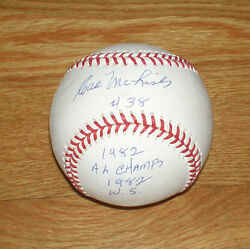 1982 Brewers Cal Mclish Signed Stat Baseball W/ '82 Al Champs And1982 Ws Auto Jsa