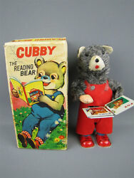 alps cubby the reading bear mechanical toy