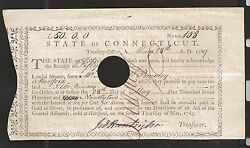 State Of Connecticut Treasury Office 1789 Fifty Pounds 50 General Huntington