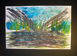 ORIGINAL WATERCOLOR FINE ART PAINTING abstract landscape water + land C PETERSON