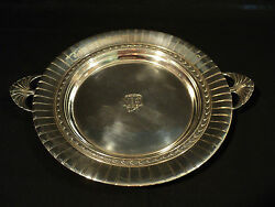 International Sterling Silver 10 Round Tray, Fluted Edge And Shell Handles