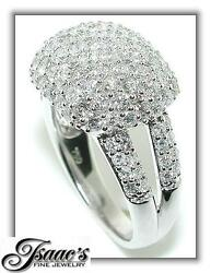 3.25 Ct Double Shank Cocktail Dome Diamond Ring 18kw