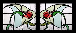 Antique English Art Nouveau Rare And Beautiful Pair Stained Glass Windows