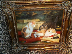 Three Kittens Playful Museum Quality Masters Style Reproduction Oil Painting
