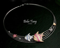 BEBE TUNG -- Diamond Ruby and Sapphire 18K gold Tropical Fish Design Necklace !