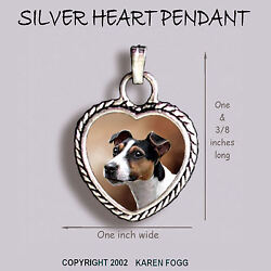 JACK RUSSELL TERRIER DOG Smooth Tri Color - Ornate HEART PENDANT Tibetan Silver