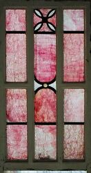 Rare Flamingo Pink Ripple Glass Antique English Stained Glass Window