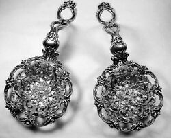 Rare Gorham Sterling Bonbonniere Spoons Antique Huge Reticulated Heavy Gorgeous
