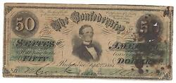 50 1861 Fifty Dollars Jeferson D Confederate States Of America Sn 47011 Pp Xa