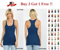 SOFT COTTON STRETCH RIBBED RACERBACK TANK TOP LONG WORKOUT YOGA SPORT FITNESS $9.95