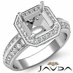 Diamond Engagement Ring Asscher Semi Mount 18k White Gold Halo Pave Setting 1ct