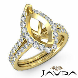 Diamond Engagement Pave Ring Marquise Semi Mount F-g Color 14k Yellow Gold 1.36c