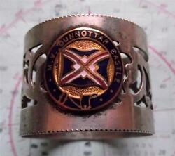 Old C1930and039s Mv Dunnottar Castle Line Pierced Napkin Ring With Enamel Crest