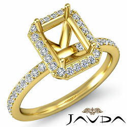 Diamond Engagement Emerald Proposed Pave Ring 18k Yellow Gold Semi Mount 1ct