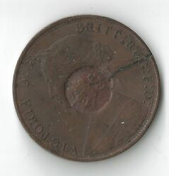 1862 British Half Penny Countermarked Gobermento Portugal Copper Coin  Reis