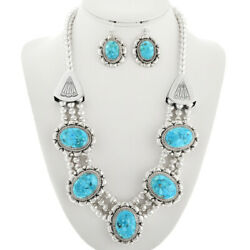 Sterling Silver Turquoise Necklace Earrings Set Navajo G Boyd 5 Blossom Design
