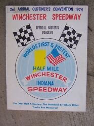 1974 Winchester Indiana Speedway Half Mile Sprint Auto Race Program Old Timers L
